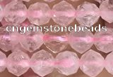 CRQ775 15.5 inches 6mm faceted nuggets rose quartz beads