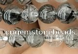 CRU532 15.5 inches 6mm round black rutilated quartz beads