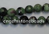CRZ107 15.5 inches 10mm faceted round ruby zoisite gemstone beads