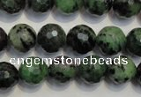 CRZ108 15.5 inches 12mm faceted round ruby zoisite gemstone beads
