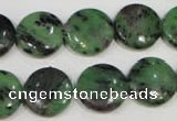 CRZ472 15.5 inches 16mm flat round ruby zoisite gemstone beads