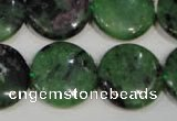 CRZ474 15.5 inches 20mm flat round ruby zoisite gemstone beads