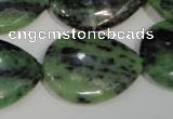 CRZ490 15.5 inches 22*30mm flat teardrop ruby zoisite gemstone beads