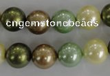 CSB1107 15.5 inches 12mm round mixed color shell pearl beads
