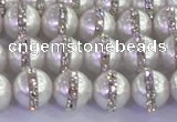 CSB1501 15.5 inches 8mm round shell pearl with rhinestone beads