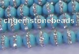 CSB1510 15.5 inches 6mm round shell pearl with rhinestone beads