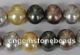 CSB158 15.5 inches 12*15mm – 13*16mm oval mixed color shell pearl beads