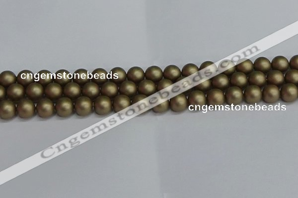 CSB1673 15.5 inches 10mm round matte shell pearl beads wholesale