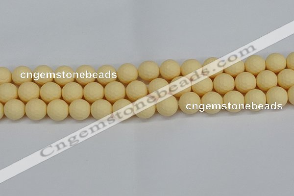 CSB1803 15.5 inches 10mm faceetd round matte shell pearl beads