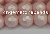 CSB1835 15.5 inches 14mm faceetd round matte shell pearl beads