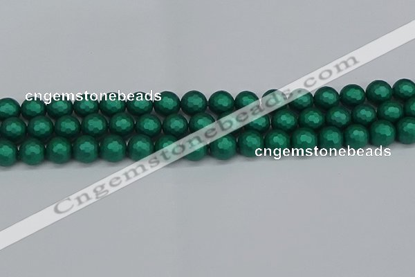 CSB2002 15.5 inches 8mm faceted round matte shell pearl beads