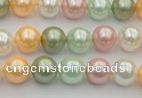 CSB329 15.5 inches 10mm round mixed color shell pearl beads