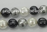 CSB472 15.5 inches 12mm faceted round mixed color shell pearl beads