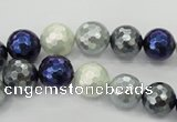 CSB481 15.5 inches 10mm faceted round mixed color shell pearl beads