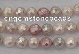 CSB490 15.5 inches 8mm faceted round mixed color shell pearl beads