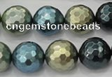 CSB534 15.5 inches 16mm faceted round mixed color shell pearl beads