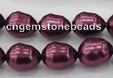 CSB556 15.5 inches 12*15mm whorl teardrop shell pearl beads