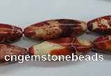CSE208 15.5 inches 10*30mm rice dyed natural sea sediment jasper beads
