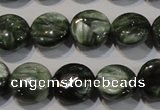 CSH120 15.5 inches 8mm flat round natural seraphinite gemstone beads