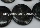 CSI89 15.5 inches 30mm flat round silver scale stone beads wholesale
