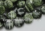 CSJ42 15.5 inches 12mm flat round green silver line jasper beads