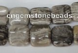 CSL52 15.5 inches 14*14mm square silver leaf jasper beads wholesale