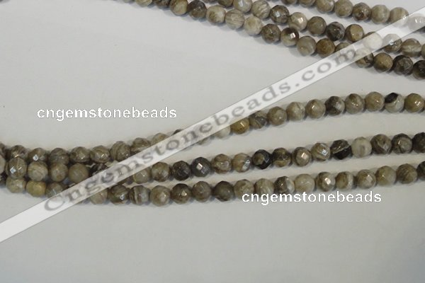 CSL91 15.5 inches 6mm faceted round silver leaf jasper beads wholesale
