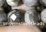 CSL94 15.5 inches 10mm faceted round sliver leaf jasper beads