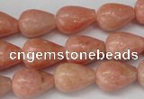 CSM11 15.5 inches 10*14mm teardrop salmon stone beads wholesale