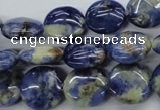 CSO203 15.5 inches 14mm flat round sodalite gemstone beads