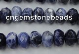 CSO353 15.5 inches 8*12mm faceted rondelle natural sodalite beads