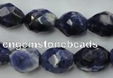 CSO368 15.5 inches 12*16mm faceted nuggets natural sodalite beads
