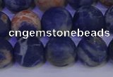 CSO525 15.5 inches 14mm round matte orange sodalite beads wholesale