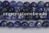 CSO558 15.5 inches 4mm faceted round sodalite gemstone beads