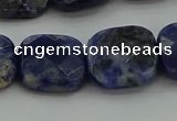 CSO727 15.5 inches 14*14mm faceted square sodalite gemstone beads