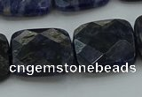 CSO728 15.5 inches 16*16mm faceted square sodalite gemstone beads