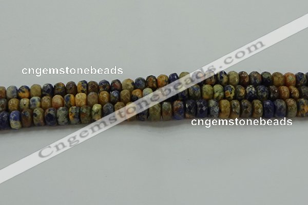 CSO762 15.5 inches 5*8mm faceted rondelle orange sodalite beads