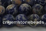 CSO804 15.5 inches 12mm round matte orange sodalite gemstone beads