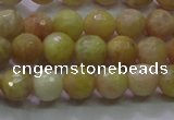 CSS611 15.5 inches 6mm faceted round yellow sunstone gemstone beads