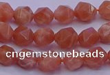 CSS681 15.5 inches 6mm faceted nuggets natural sunstone beads