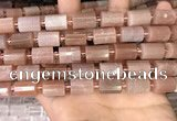 CTB202 15.5 inches 10*15mm faceted tube moonstone beads