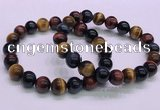 CTB37 7.5 inches 10mm round colorful tiger eye beaded bracelets