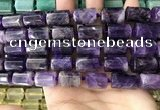 CTB618 15.5 inches 11*16mm - 12*18mm faceted tube amethyst beads