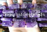 CTB671 14*27mm - 15*28mm faceted flat tube amethyst beads