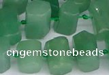 CTB756 15.5 inches 6*10mm - 8*12mm faceted tube green aventurine beads