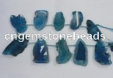 CTD1569 Top drilled 20*40mm - 30*65mm freeform agate slab beads