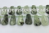 CTD2273 16*28mm - 20*30mm faceted freeform green rutilated quartz beads