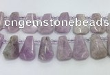 CTD2369 Top drilled 16*18mm - 20*30mm faceted freeform kunzite beads