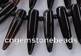 CTD2729 Top drilled 8*35mm bullet agate gemstone beads wholesale
