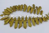 CTD2853 Top drilled 10*20mm - 15*50mm sticks plated quartz beads